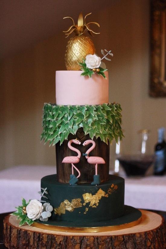 Bespoke winter tropical flamingo wedding cake