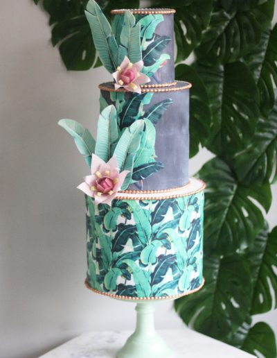 Banana leaf wedding cake