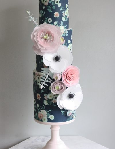Wallpaper and wafer paper flower cake