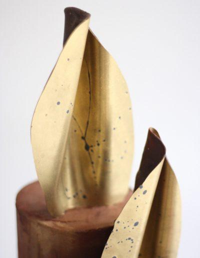 Dark chocolate gold shards with grey splats