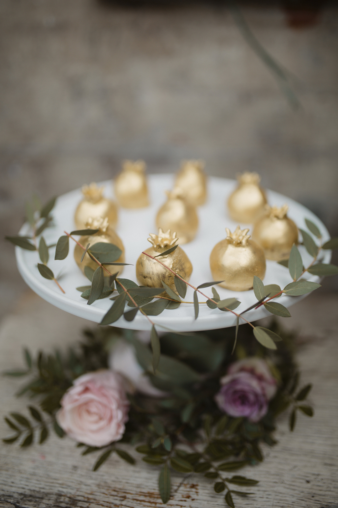 Golden pomegranate cake truffles