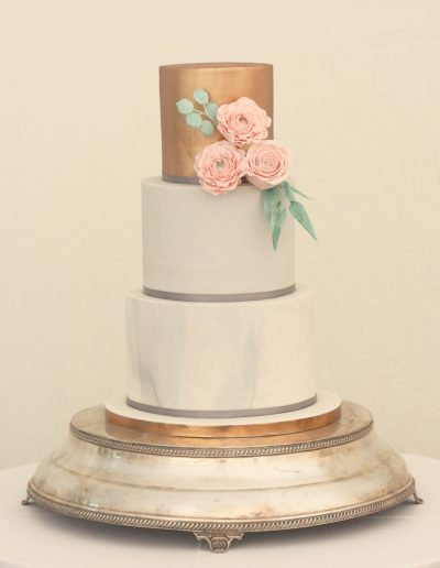 Marble and copper wedding cakle