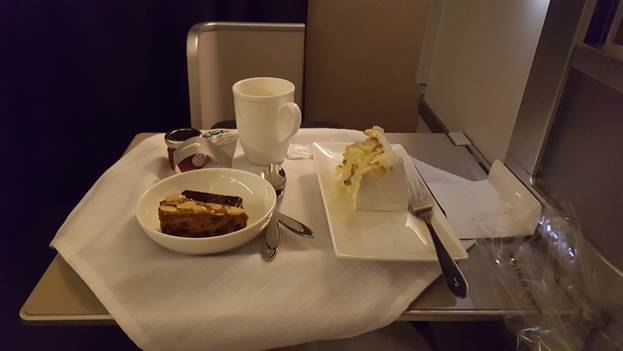 Verity and Will's slice of wedding cake on the plane to Tanzania