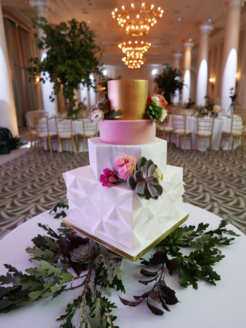 Geometric wedding cake inspired by modern architecture