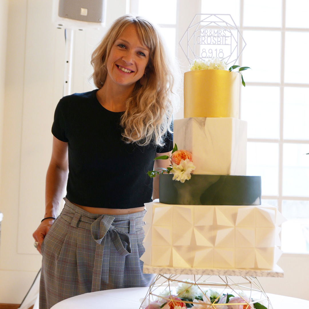 Me with my four tier marble and geometric art deco wedding cake