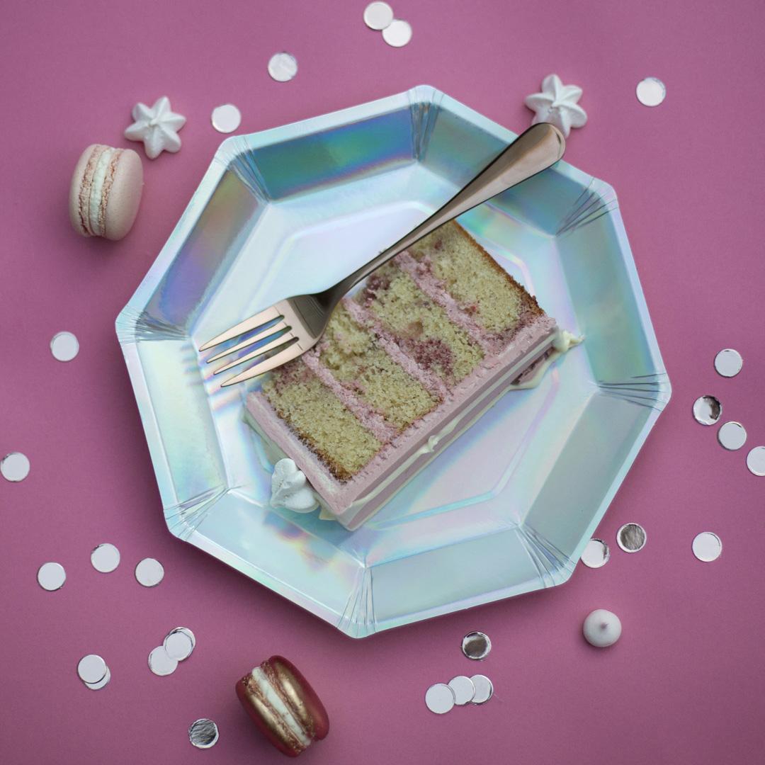 Slice of raspberry ripple cake- Malarkey cakes best wedding cake flavours