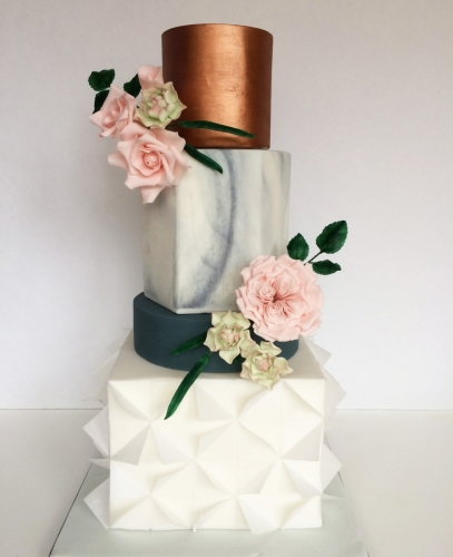 Marble, copper and wafer paper geometric wedding cake with sugar flowers