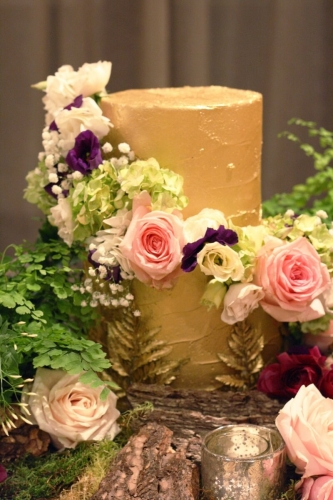Enchanted forest gold flower cake
