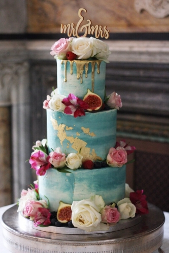 Flower watercolour cake commissioned for a London wedding cake