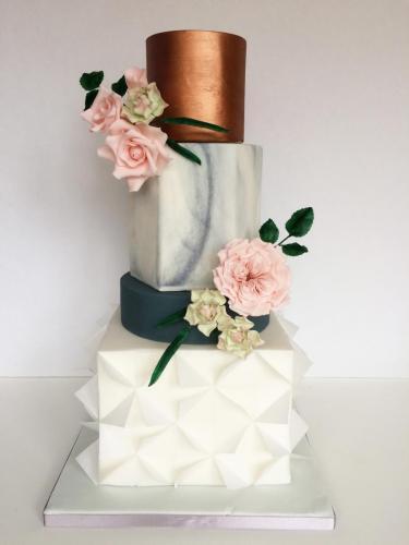 Marble geometric wedding cake