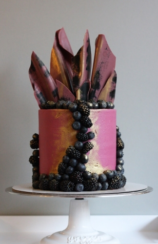 Pink chocolate and berry shard cake commissioned for a London wedding cake