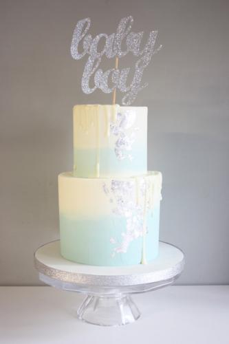 baby shower drip silver leaf cake