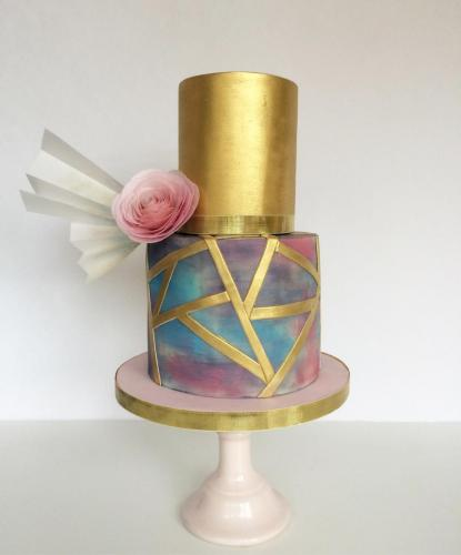 watercolour and gold wedding cake